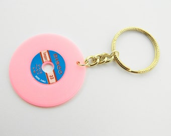 Vintage Vinyl Keychain in Light Pink