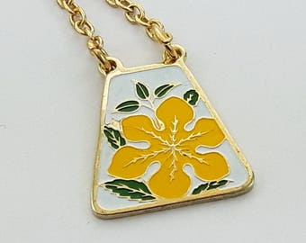 Vintage Yellow Tiki Hibiscus Print Necklace