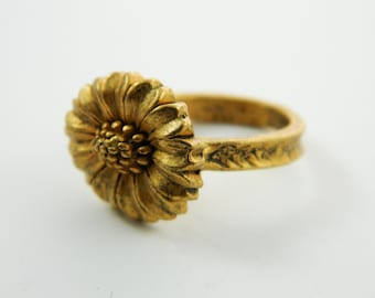 Gold Sunflower Ring