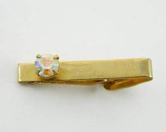 Rainbow Crystal Tie Clip - TT171 - Vintage Tie Clip - Gold Tie Clip