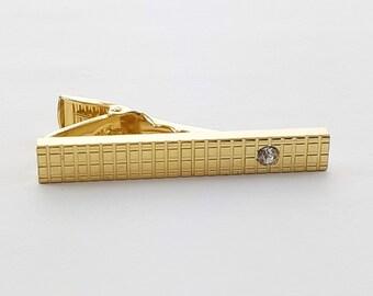 Vintage Gold Gridlock Crystal Tie Clip