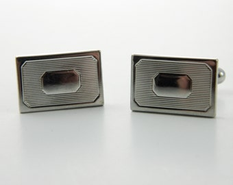 Silver Rectangular Cuff Links