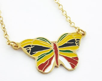 Vintage Butterfly Necklace - Yellow, Red, Green and White