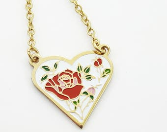 Heart Shaped Rose Necklace