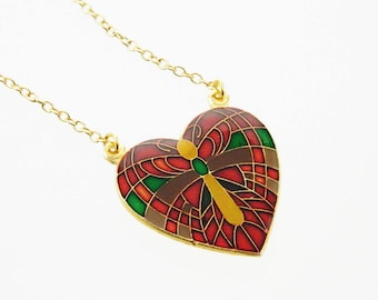 Vintage Butterfly Heart Pendant Necklace - Red, Yellow, Green