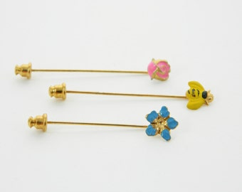 Bumblebee and Flowers Stickpin Set - Stickpin Trio