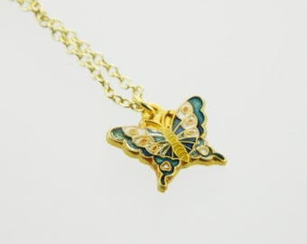 Navy Butterfly Charm Necklace