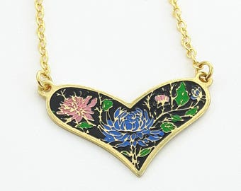 Vintage Heart Necklace/ Black Enamel with Blue & Pink Floral