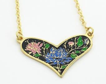 Vintage Black Enamel Floral Heart Necklace