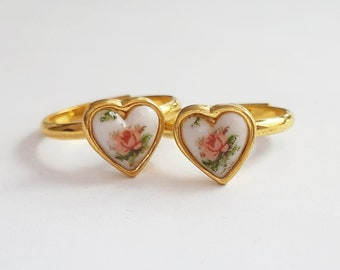 Seconds Sale - Gold Rose Heart Ring - Imperfect Ring with Markings