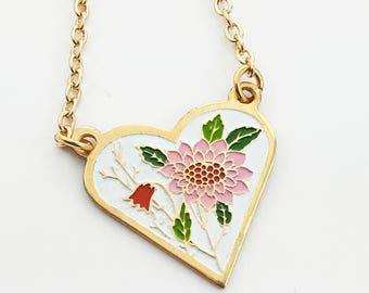 Pink Sunflower Heart Necklace