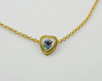 Tiny Blue Floral Heart Charm Necklace