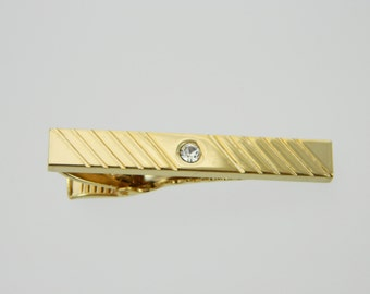 Gold Diagonal Stripe Tie Clip