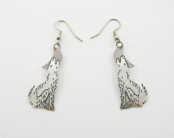 Vintage Silver Wolf Earrings