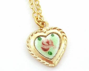 Mint Green Enamel Heart Necklace