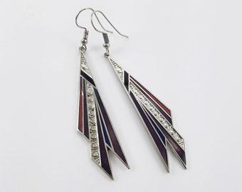 Vintage Enamel Dangle Earrings