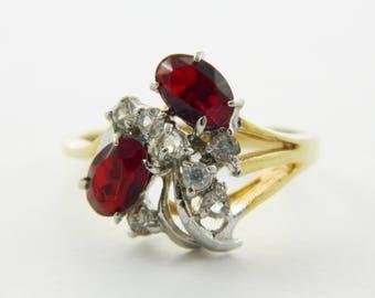 Vintage Ruby Cluster 14k HGE Cocktail Ring