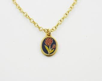 Red Carnation Charm Necklace