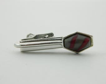 Grey and Red Stripe Silver Tie Clip