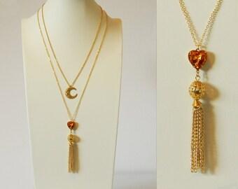 Topaz Heart Tassel Necklace