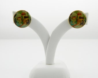 70s Folk Art Stud Earrings - Fran Mar