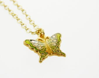 Green Butterfly Charm Necklace