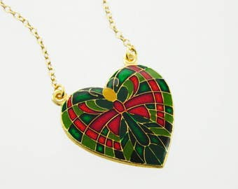 Butterfly Heart Pendant Necklace - Red and Green