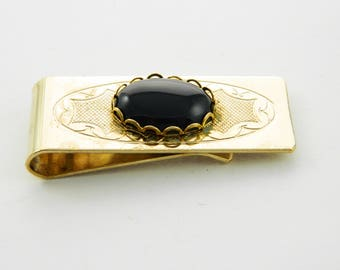 Gold Onyx Money Clip - Vintage Money Clip