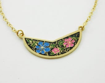 Blue and Pink Vintage Floral Print Crescent Necklace