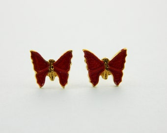Red Painted Butterfly Earrings