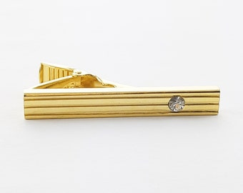 Gold Crystal Pinstripe Tie Clip