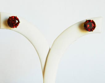 Faux Ruby Crystal Cocktail Studs