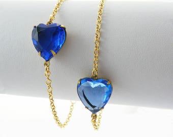 Blue Crystal Heart Bracelet