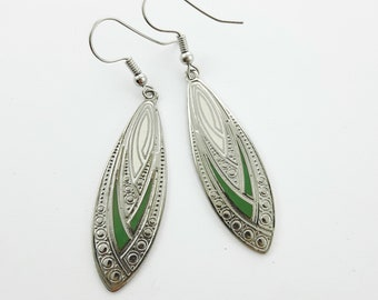 Silver Geo Print Enamel Earrings in Green