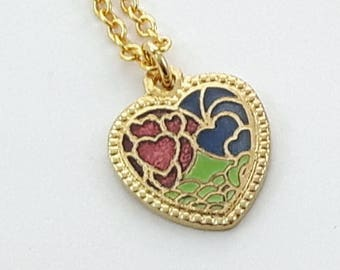 Raspberry Tricolor Heart Charm Necklace