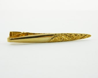 Swirl Etched Tie Clip in Gold