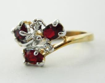 Faux Ruby Cluster Cocktail Ring