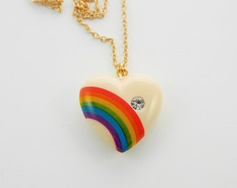 Rainbow Heart Pendant Necklace