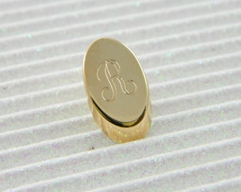 "Gold Monogram ""R"" Lapel Pin - Personalized Initial ""R"" Tie Tack"