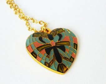 Butterfly Heart Necklace - Blue, Pink and Green
