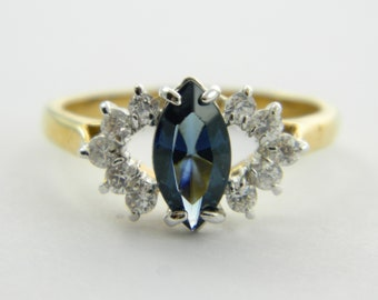 Vintage Faux Sapphire Marquise Ring