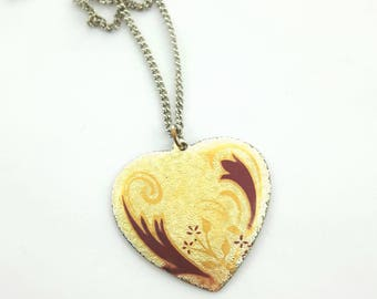 Yellow Vintage Heart Necklace - NC0007