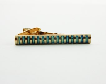 Gold and Teal Tie Clip