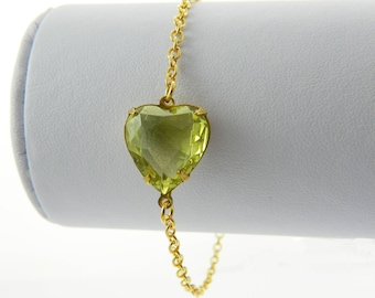 Lemon Crystal Heart Bracelet