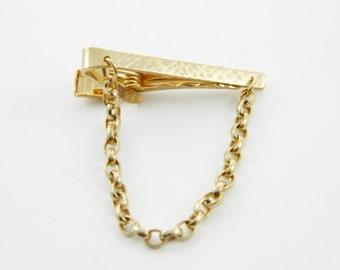Bristol Gold Tie Clip with Chain