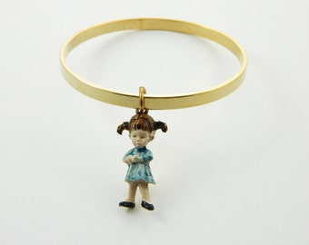 Fran Mar Moppets Bangle - Girl with Pigtails