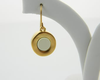 Gold and Cream Mod Earrings