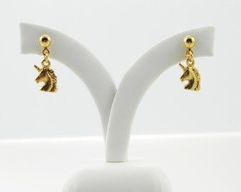 Gold Unicorn Earrings