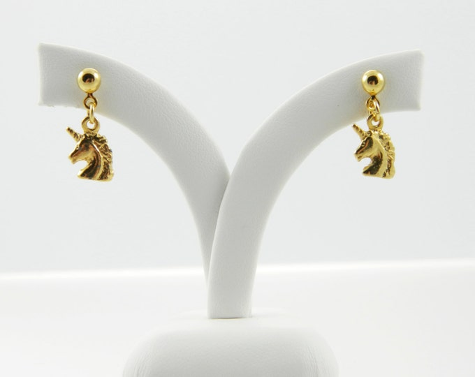 Featured listing image: Gold Unicorn Earrings