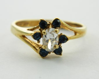 Vintage Faux Sapphire Flower Ring
